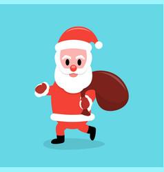 santa claus carrying a gift bag vector image