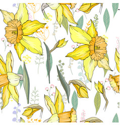 Seamless floral decorative pattern with yellow vector