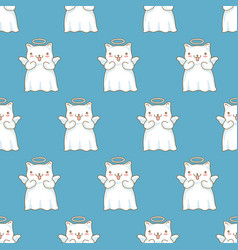 seamless pattern background with cartoon cats vector image