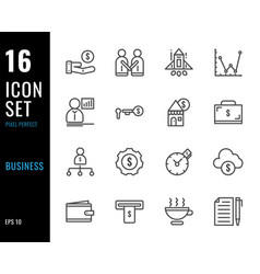 set 16 icons business thin line style vector image