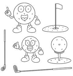 Set of golf equipment vector