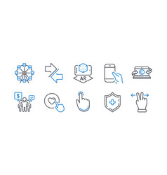 Set technology icons such as hold smartphone vector