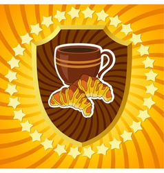 Shield with coffee and croissants vector