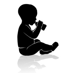Silhouette basitting drinking from babottle vector