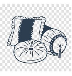 silhouette cushion set icon vector image