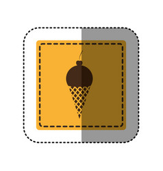 sticker yellow square with ice cream cone vector image