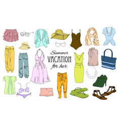 Summer travel packing for vacation woman clothing vector