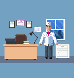 The of a doctor who is in his office vector