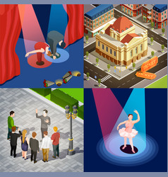 Theatre 2x2 isometric set vector