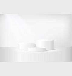 three-level white podium on white background vector image