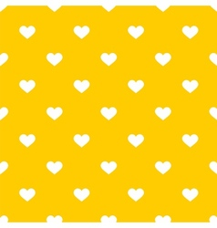 Tile cute pattern with white hearts on yellow vector