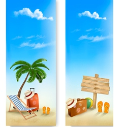 two summer travel banners vector image vector image