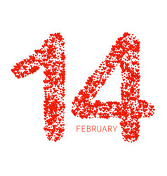 valentines heart number love symbol 14 february vector image