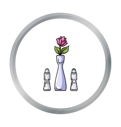 Vase with flower icon in cartoon style isolated on vector image