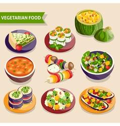 Vegetarian dishes set vector