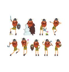 viking cartoon characters set scandinavian vector image