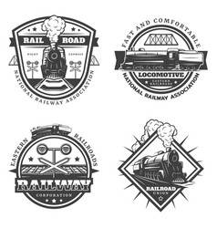 Vintage monochrome retro train emblems set vector