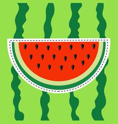 watermelon slice sticker icon dash line cut half vector image