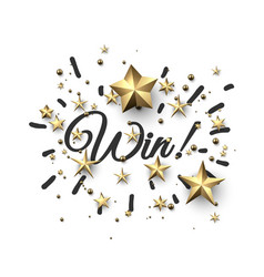 win sign with gold stars vector image