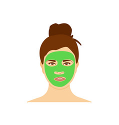 Woman with natural nourishing green mask on her vector