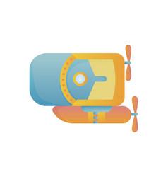 yellow and blue submarine undersea cartoon style vector image