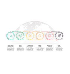 Business process timeline with 6 options circles vector
