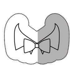 contour sticker bow tie with shirt icon vector image