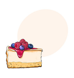 Hand drawn piece of cheesecake decorated with vector