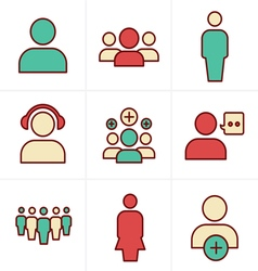 Icons Style team icon set Design vector image vector image