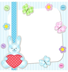 Blue rabbits cards vector image vector image