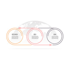 business process timeline with 3 options circles vector image