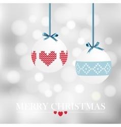 Christmas card with christmas balls and bokeh vector image vector image