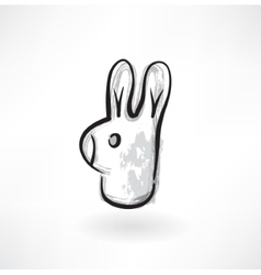 rabbit head grunge icon vector image vector image