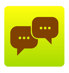 speech bubbles sign brown icon at green vector image vector image