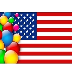 American flag greeting with balloons vector image vector image
