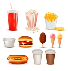Big group of fast food products vector image vector image