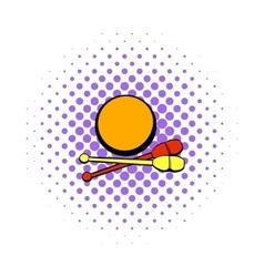 Bowling ball and pins icon comics style vector image vector image