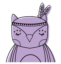 Color cute owl animal with feathers decoration vector