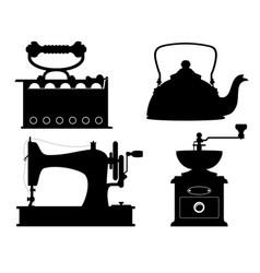domestic appliances old retro vintage set icons vector image vector image