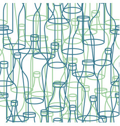 glass bottle seamless pattern empty transparent vector image vector image