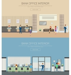 Bank interior or department with cashier vector image vector image