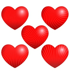 Five Beautiful Hearts with Patterns vector image