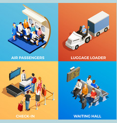 isometric people at airport vector image vector image