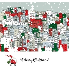 Merry christmas postcard with cityscape background vector image vector image