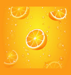 orange fruits with slices in juice of citrus vector image