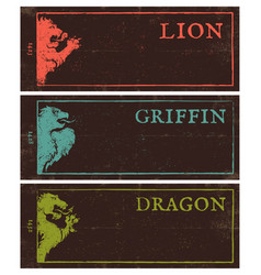 Vintage dark banners for games vector