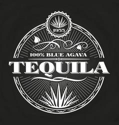 vintage tequila banner design on chalkboard vector image