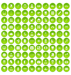 100 doctor icons set green circle vector