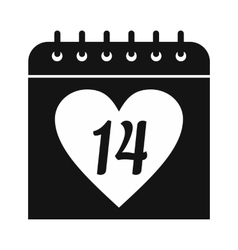 14 February calendar simple icon vector image