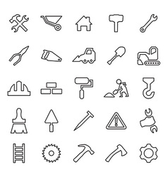 25 outline universal construction icons vector image